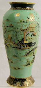 W & R Carlton Ware  Large Green 'Temple' Vase - 1920s - SOLD